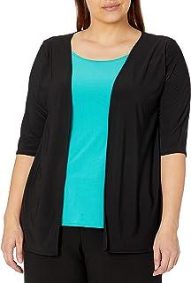Star Vixen Women's Plus Size 2fer Top W Print Jacket/Solid Inset/Black-Silver Double-Strand Necklace
