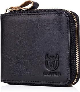 Mens Genuine Leather Zipper Wallet RFID Blocking Bifold Secure Zip Around Wallets Multi Credit Card Holder Purse, black, S...