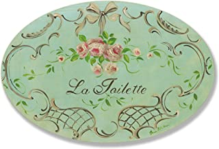The Stupell Home Decor Collection La Toilette Aqua with Roses and Tan Bow Oval Bathroom Wall Plaque