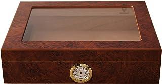 GERMANUS Cigar Humidor för ca 30 cigarrer, brun, med hygrometer och luftfuktare manuell