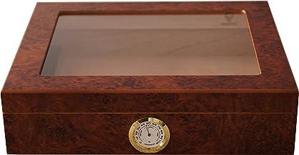 GERMANUS Humidor de Puros Mensalla con Higrómetro y Humidificador y el Manual Libro, en Marrón