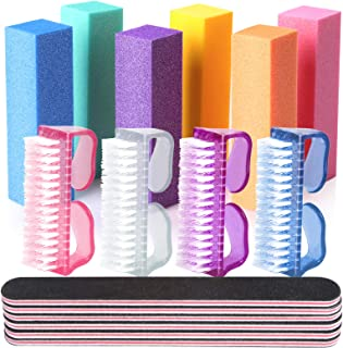 Handle Grip Nail Brush, Teenitor Hand Fingernail Brush Cleaner Nail Files and Buffers Professional Nail Manicure Tools