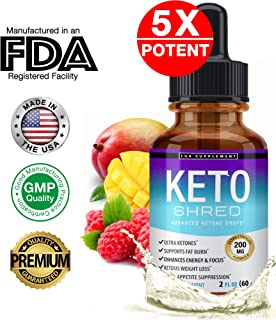 Keto Shred Drops Liquid Advanced Carb Weight Loss - Raspberry Ketone Fat Burner Blended with African Mango & Garcinia, Suppress Appetite & Cravings, for Men Women, 2 Fl Oz (60 ml), Lux Supplement