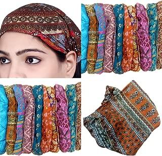 Sarjana Handicrafts Lot 10 Pieces Womens Mens Silk Headband Printed Hairband Bandana