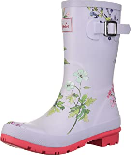Joules Women's MOLLYWELLY Rain Boot Silver Botanical 5 Medium US