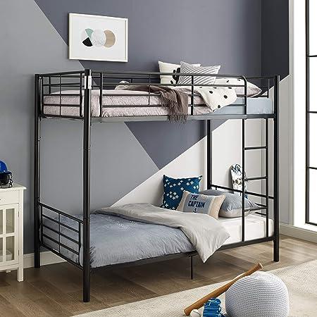 Amazon Com Walker Edison Elodie Urban Industrial Twin Over Twin Metal Bunk Bed Twin Over Twin Black Furniture Decor