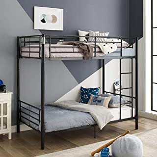 WE Furniture Modern Metal Pipe Twin Bunk Kids Bed Bedroom, Black