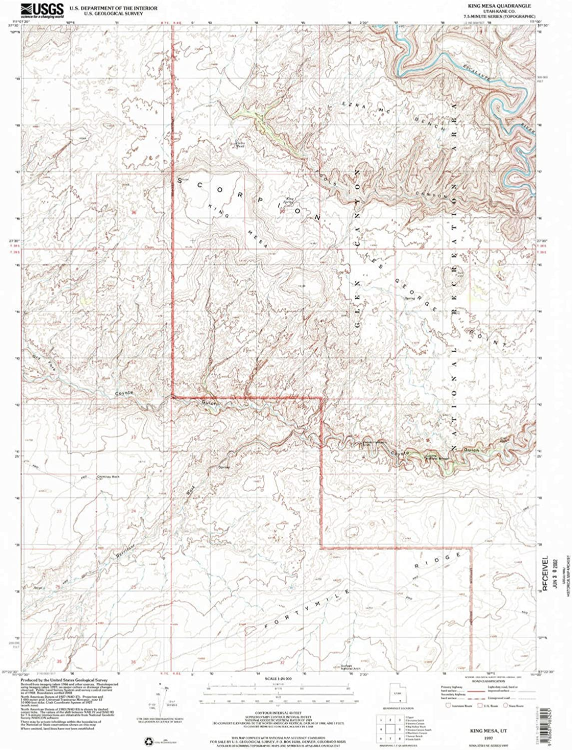King Mesa UT topo map, 1 24000 Scale, 7.5 X 7.5 Minute, Historical, 1997, Updated 2002, 27 x 21.9 in