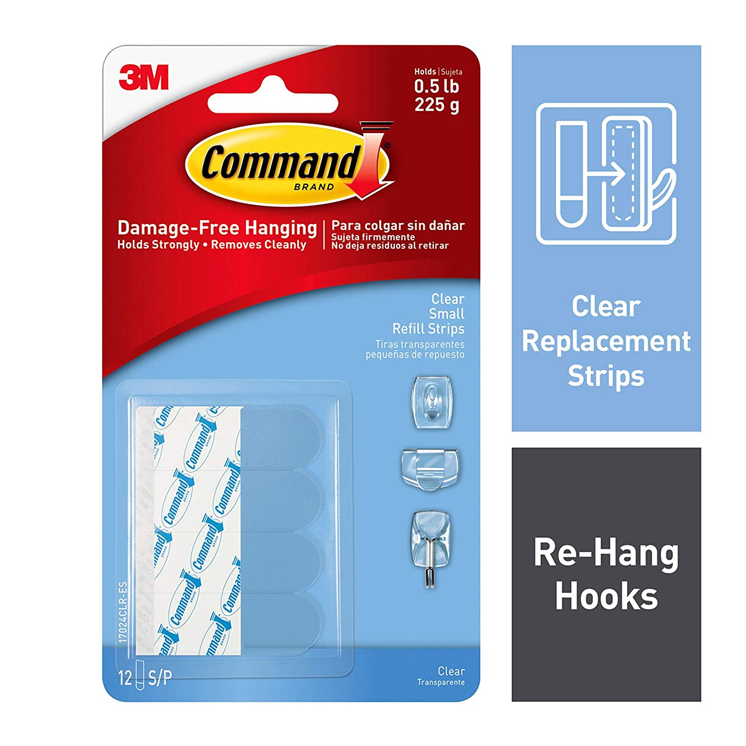 Command Small Refill Strips, 12 Strips, Clear, 17024CLR