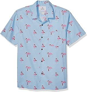 28 Palms Amazon Brand Men's Standard-Fit 100% Cotton Christmas Hawaiian Shirt, Holiday Flamingo, Small