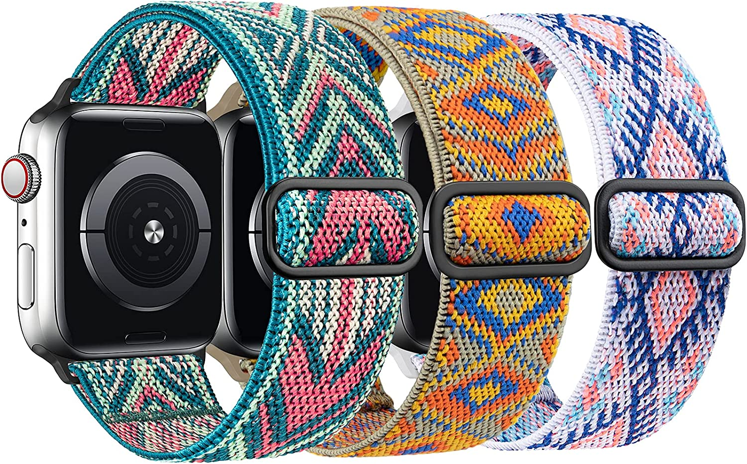 Greatfine Stretchy Watch Bands Compatible with Apple Watch Band 38mm 40mm 42mm 44mm for Women Men,Adjustable Elastic Solo Loop Straps,Sport Replacement Band for iWatch Series 6/5/4/3/2/1/SE,3 Packs