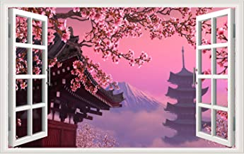 240 Pieces Foam Sakura Stickers 4 Sheets with Mount Fuji Cats Geisha and Kinds of Japanese Cherry Blossoms Stickers Decals Pink