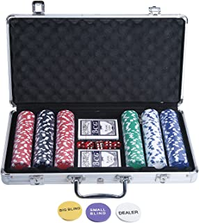 Vinteky Plastic Poker Chips Set for Texas Holdem,Gambling with Carrying Case,Cards,Buttons and 300 Dice Style Casino Chips (11.5 gram)