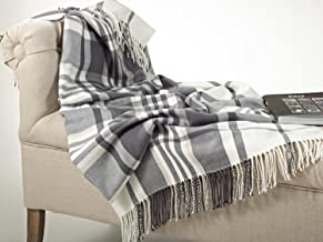 Fennco Styles Plaid Design Throw Blanket in Soft Hues, 50 Wx60 L