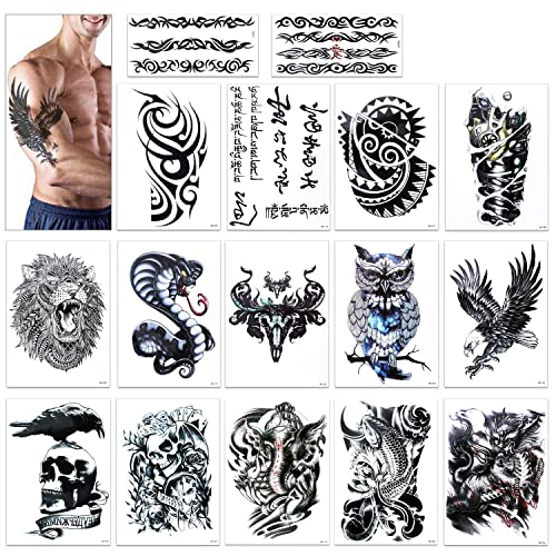 e10202b92 Temporary Tattoo for Guys for Man - Konsait Extra Fake Temporary Tattoo  Black tattoo Body Stickers
