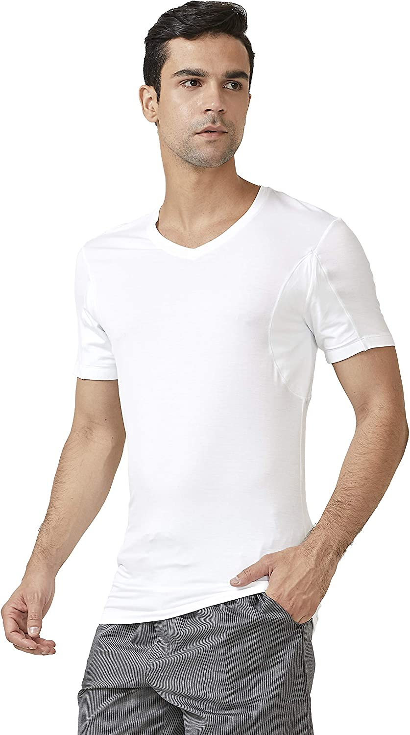 DAVID ARCHY 2 Pack Sweat Proof Undershirt for Men Soft Bamboo Rayon V-Neck Armpit Odor Defense T-Shirt Short Sleeve Tee at  Men's Clothing store