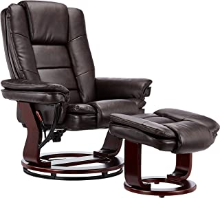JC Home Contemporary Brown Leather Recliner and Ottoman with Swiveling Mahogany Wood Base