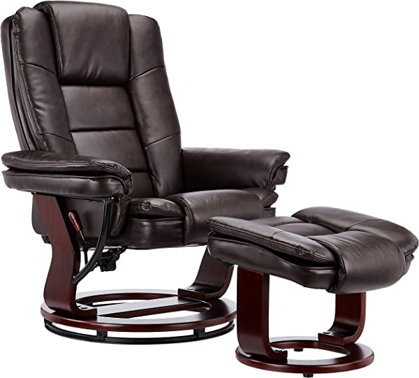 JC Home 70788 1 Contemporary Brown Leather Recliner And Ottoman With Swiveling Mahogany Wood Base