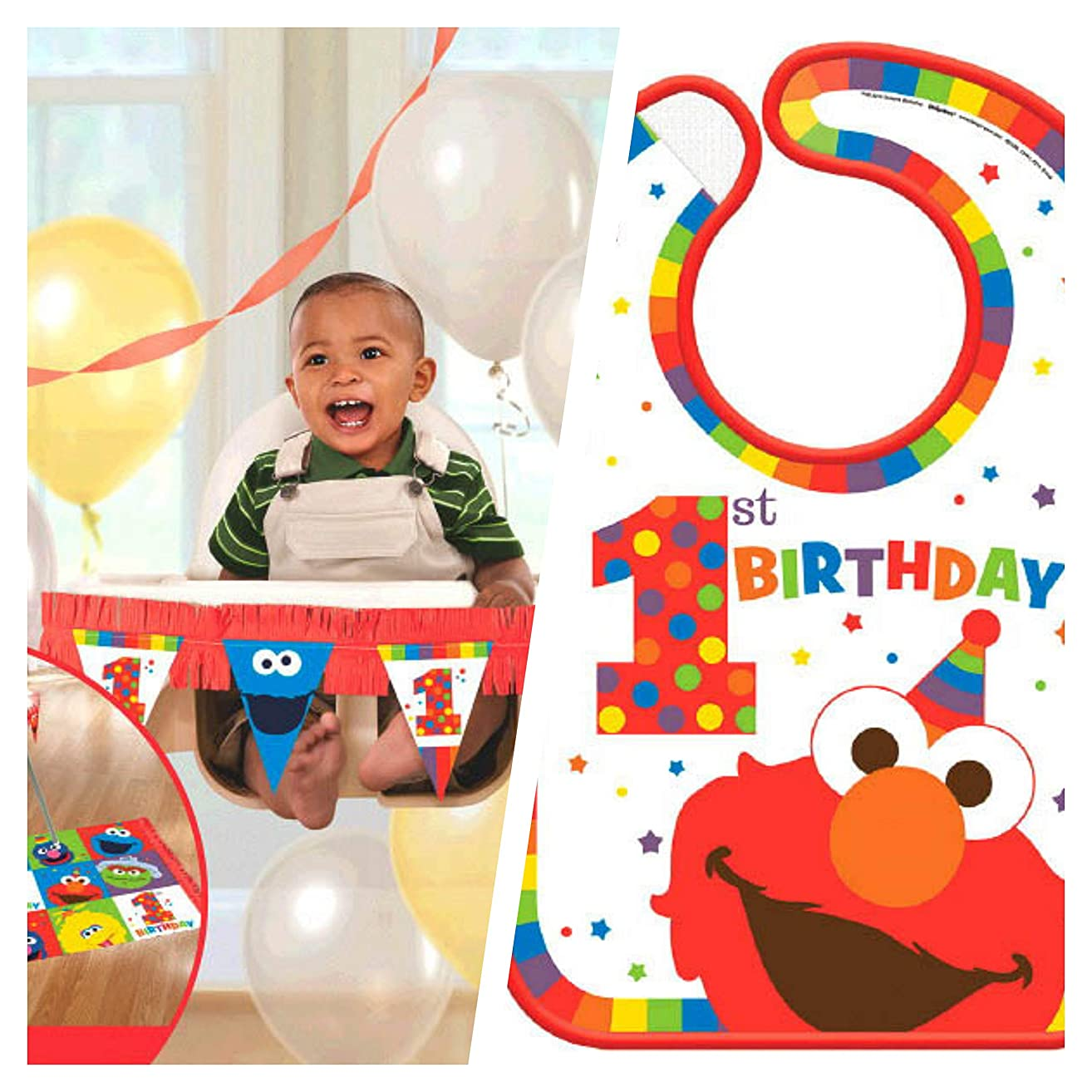 Elmo First Birthday Party Supplies (High Chair Bundle)