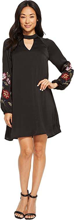 Layla Keyhole Dress with Embroidered Sleeve