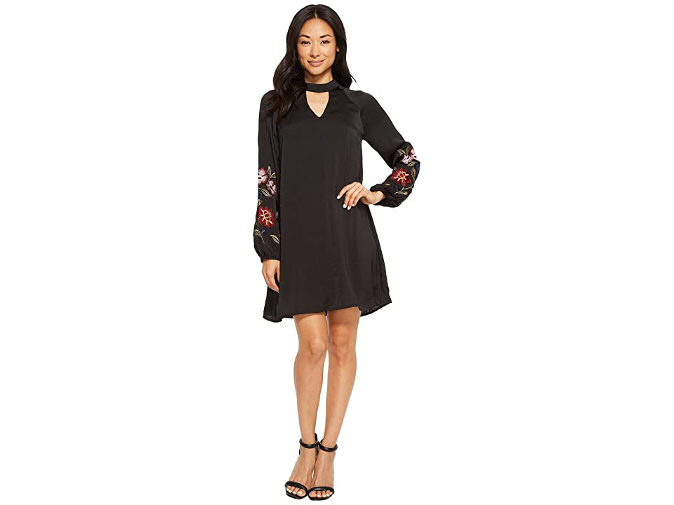 American Rose Layla Keyhole Dress with Embroidered Sleeve (Black) Women