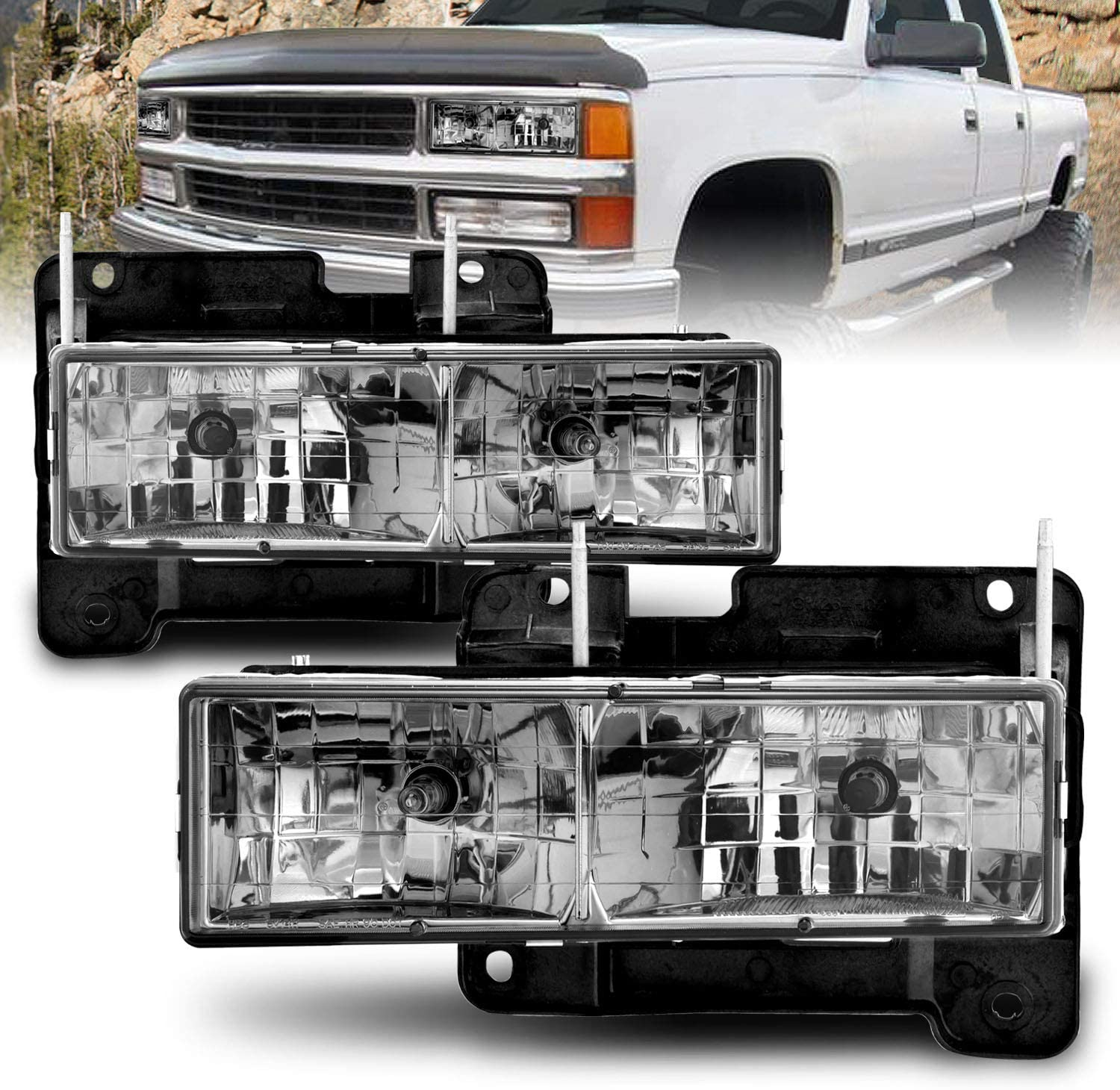 AmeriLite Smke Crystal Headlights Set Fullsize - 67% OFF of fixed price Chevy Outlet SALE Passe For