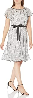 Sandra Darren Women's 1 Pc Flutter Sleeve Printed Georgette Belted Flare Dress