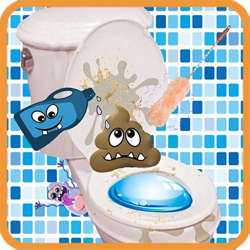 Sauberes Badezimmer - Toilette aufräumen