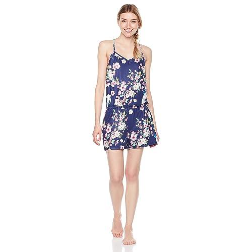 853a3092566 Selene Women s Knit Sleepwear Floral   Swan Print Sleep Romper Sling  Jumpsuit