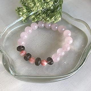 天然石.ローズクォ-ツ.茶水晶.珊瑚のブレスレット