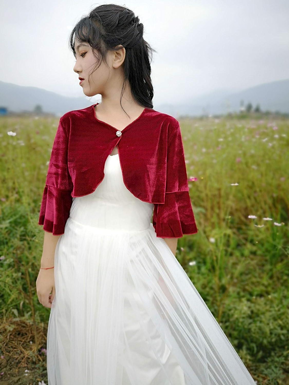 YuRongsxt Velvet/Shrug/for/Evening/Bell/Sleeve/Wedding/Velvet//Bolero Z08