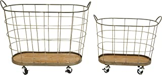 Creative Co-op Metal & Wood Laundry Baskets on Wheels (Set of 2 Sizes)