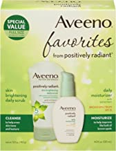 Aveeno Positively Radiant Morning Radiance Skin Care Gift Set with Daily Face Scrub & Moisturizer with SPF 15, Helps Brightens Skin & Evens Tone, Non-Comedogenic & Hypoallergenic, Set of 2 (3 Pack)