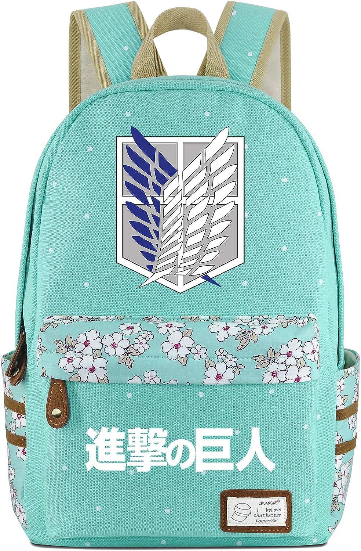 Roffatide Anime Attack/on/Titan Wings of Freedom Canvas Backpack Polka Dots School Bag Printed Rucksack Daypacks Green