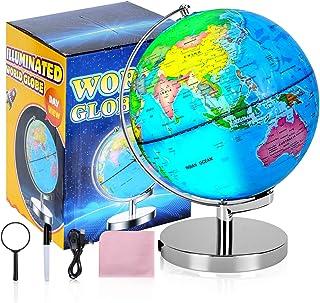لعبة كرة الأرض الملونة المتينة من عالم العالم 20.32 سم للأطفال مع حامل، خريطة واضحة عالية ملونة سهلة القراءة، يضيء لعبة ال...