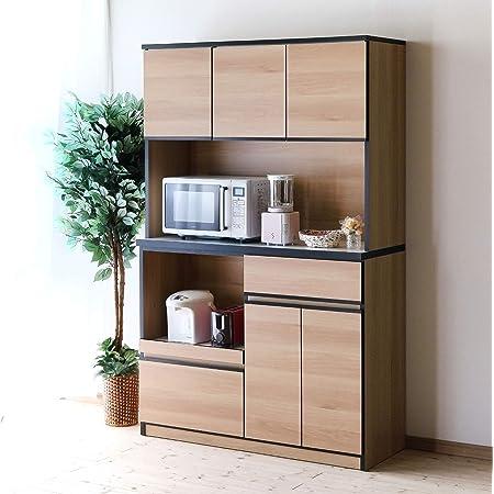 食器棚 レンジ台 コンセント付 キッチンボード ナポリ 幅116.3(120) 完成品 カラー5色(ナチュラル) おしゃれ