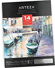 """ARTEZA 9X12"""" Watercolor Pad, 14 Sheets (140lb/300gsm), 100% Cotton, Double-Sided, Cold-Pressed, Acid-Free Paper, Ideal for Watercolor Techniques and Mixed Media"""
