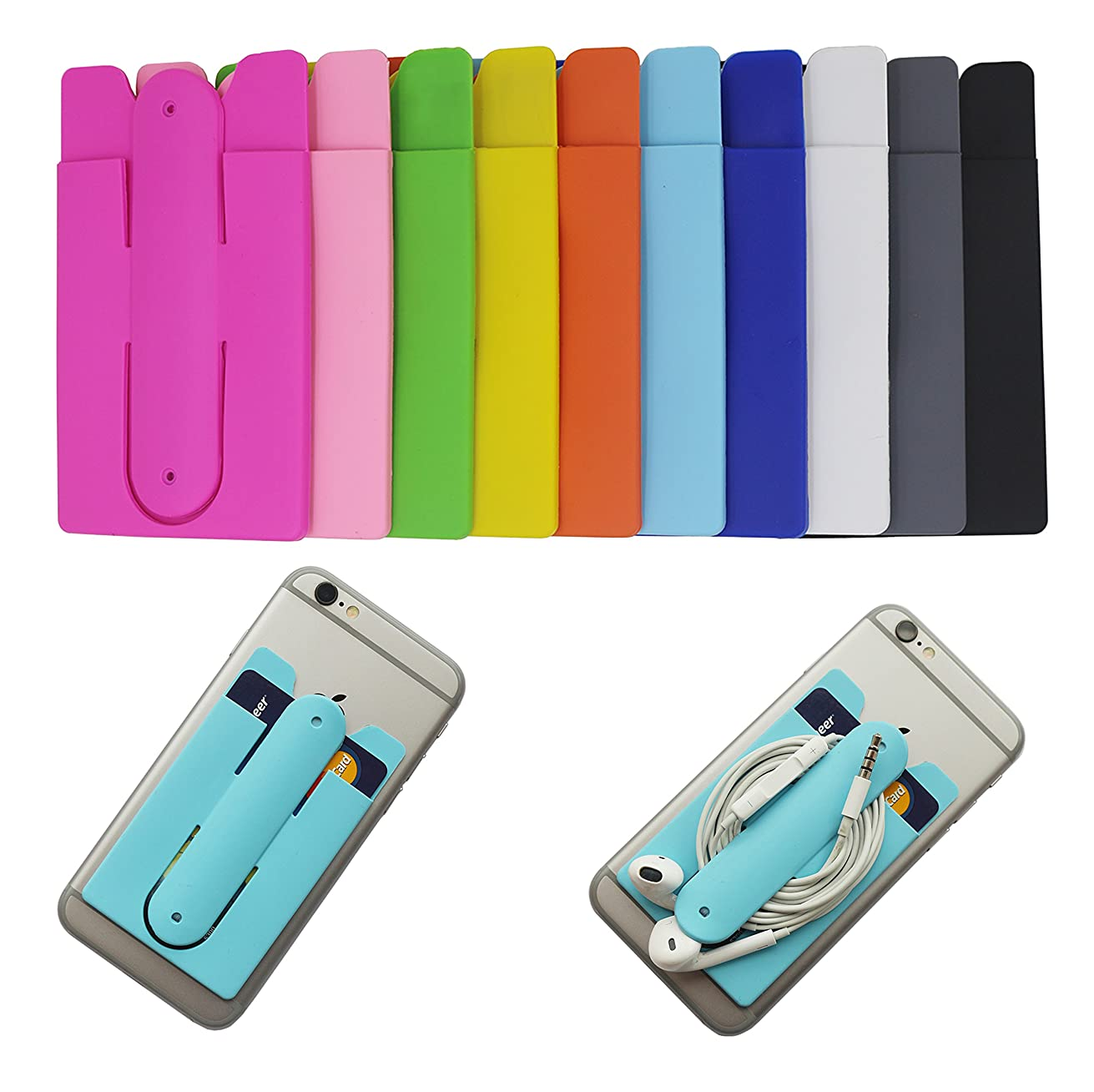 Phone Card Holder, Morntek 2 in 1 Silicone Adhesive Stick on ID Credit Card Holder with Phone Stand, Fits for iPhone, Samsung and Most Other Phones, 10 Mixed Color Pack (10 Pack)