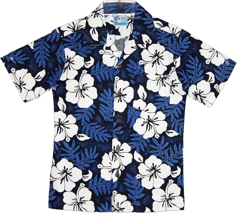 RJC Boy's White Hibiscus Hawaiian Shirt in Blue