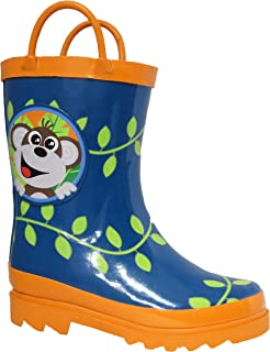 Puddle Play Kids Boys' Monkeyin' Around Printed Waterproof Easy-On Rubber Rain Boots (Toddler/Little Kids)