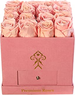 Premium Roses| Real Roses That Last a Year | Fresh Flowers| Roses in a Box (Pink Box, Medium)