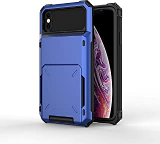 iPhone XR Wallet Case, Heavy Duty Shockproof Rugged Hard Shell Back Armor Protective Case Cover with Sliding Hidden Card Slot Holders Kickstand Compatible with iPhone XR (Blue)