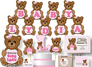 Personalized Teddy Bear Baby Shower or Birthday Party Decorations for Girl - Banner with Optional Cake Topper, Centerpiece, Sign, Favor Tags or Stickers, Thank You Cards - Handmade in USA - BCPCustom