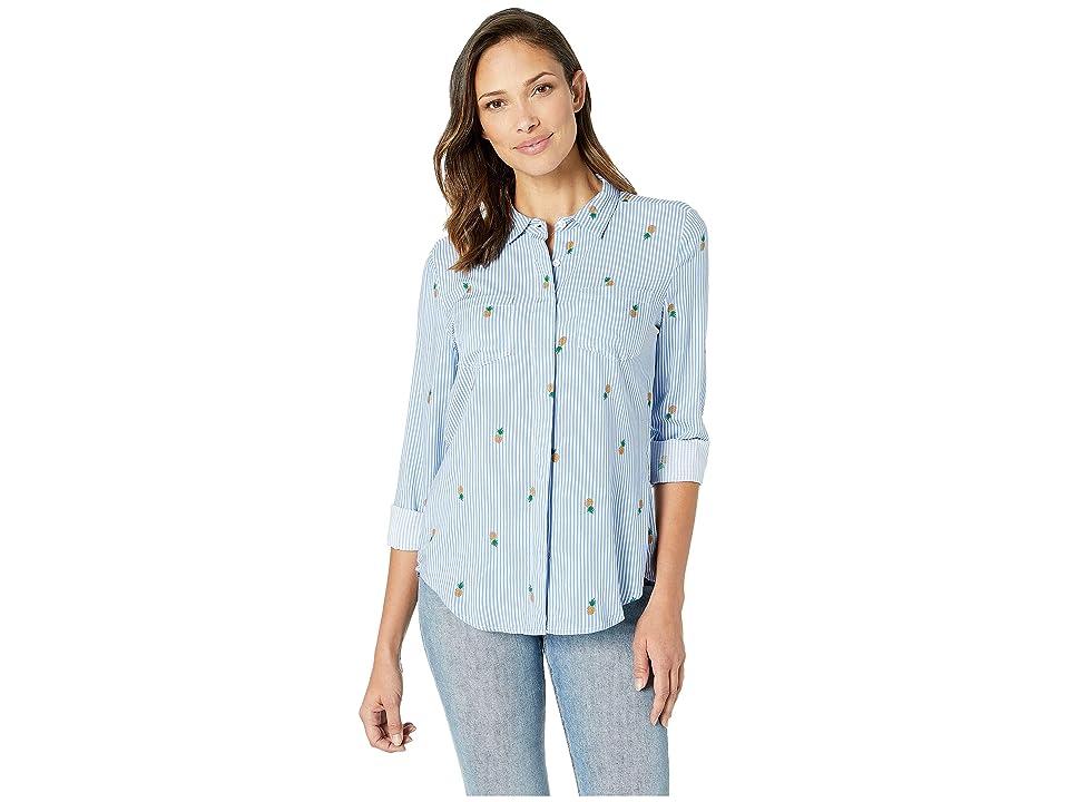 Per Se Long Sleeve Split Back Shirt (Blue/White Pineapple Stripe) Women's Clothing