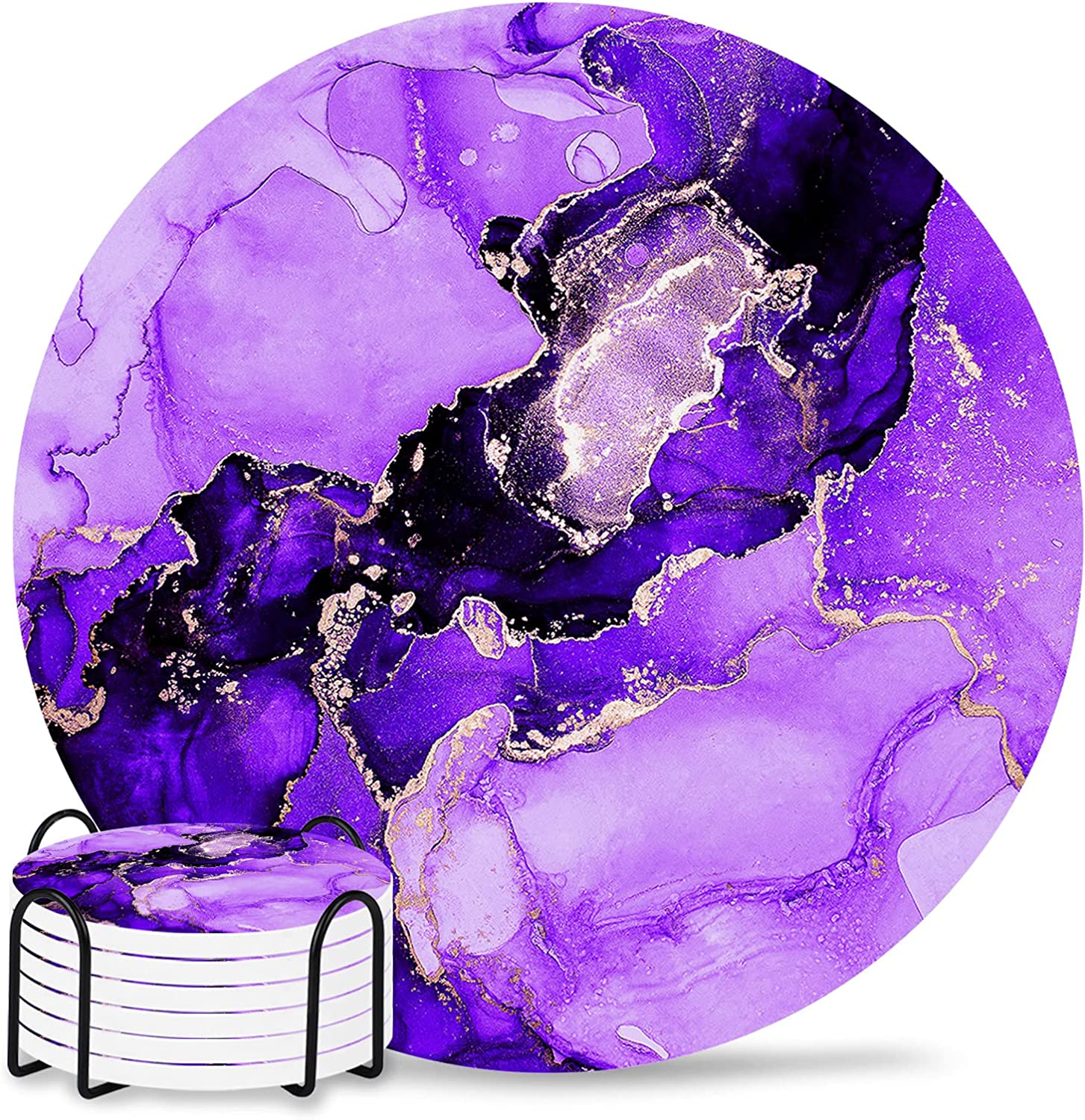 Max 52% OFF Coasters for Drinks Set of 6 with Large discharge sale Holder Pur Abstract Ink Paint