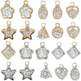 20 Pcs Cubic Zirconia Alloy Pendants, Crystal Pendants Charms for DIY Necklace Jewelry Making