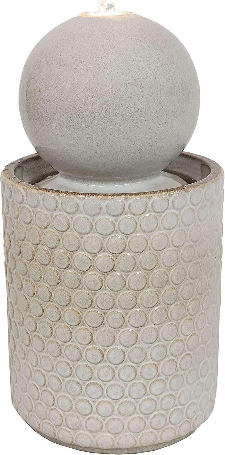 Sunnydaze Modern Orb Outdoor Ceramic Water Fountain with LED Lights and Round Circle-Pattern Base - Exterior Water Feature for Garden, Lawn, Deck, Porch and Balcony - 23.5-Inch