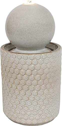 wholesale Sunnydaze Modern Orb Outdoor Ceramic Water Fountain with LED Lights and Round Circle-Pattern Base - Exterior Water Feature for Garden, Lawn, Deck, Porch and Balcony high quality - outlet online sale 23.5-Inch outlet sale