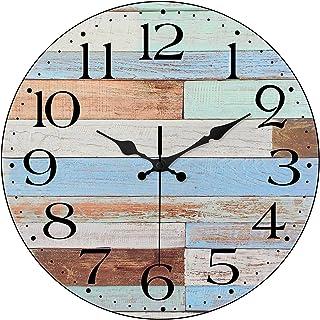 ساعت دیواری خاموش بدون لرزش LAMIKO ساعت 12 اینچی باتری کار می کند ساعت مچی کوارتز کوارتز سکوی دکوری آسان برای اتاق خواندن آشپزخانه اتاق خواب اتاق خواب مدرسه مدرسه آبی پوشیده