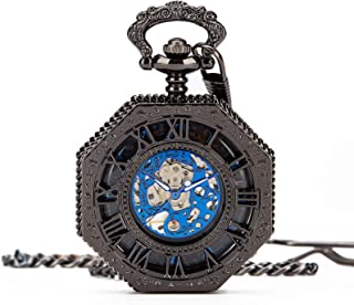 Mens Steampunk Gold Tone Octagon Skeleton Mechanical Pocket Watch with Chain + Box (Black)